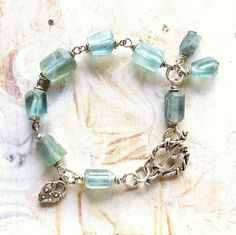 Sea Green  Handmade Oxidized Sterling Silver and Matte