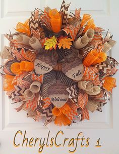 Fall Wreath, Fall Burlap Mesh Wreath, Happy Fall Wreath, Welcome Wreath, Autumn Door Wreath  Dress your door in all the beautiful warm colors of Fall with this Totally Burlap Happy Fall and Welcome sign Wreath!  Made on a wire frame base, using 3 different premium colors of Jute Burlap Mesh~Natural, Orange and a Chocolate Brown for the base~they are in long spirals~intertwined with each other! This is rather a difficult process to get them to lay just right! This is another reason why this…