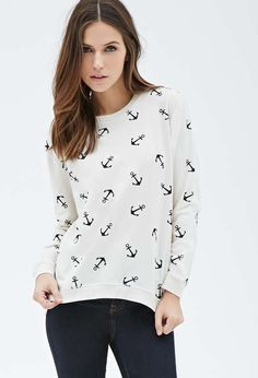 Forever 21 | Anchor Print Sweatshirt #forever21 #print #sweater