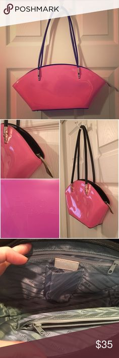 """BEIJO Over The Moon Handbag 💕Pepto Bubblegum Pink Beautiful BEIJO Over the Moon handbag in a bright pink. Firm, glossy vinyl with unique silver hardware. Excellent, clean condition with some minor scuffs to the vinyl. Measures 16"""" wide x 7"""" tall x 2.5"""" deep. Strap drop is 10"""". Beijo Bags Shoulder Bags"""