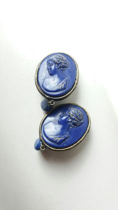 A pair of blue lapislazuli  resin and stones clip earings by Marco Apollonio