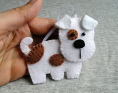 Handmade felt dog ornament dog terrier, felt ornament, cute hanging, white brown, christmas tree ornament