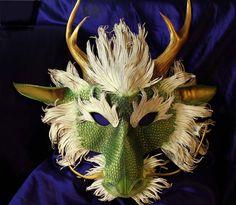Handmade Leather Dragon  Mask - Ryu, Asian. $775.00, via Etsy.
