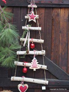 Weihnachtsdeko - Tannenbaum Leiter Birke - ein Designerstück von ChriSue bei DaWanda