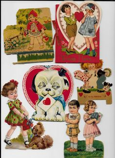 6 Vintage 1920s Valentines Cards Germany Victorian by retrogal415