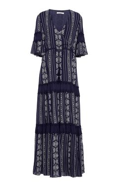 Embroidered Cotton-Voile Tiered Maxi Dress, Navy. JONATHAN SIMKHAI ...