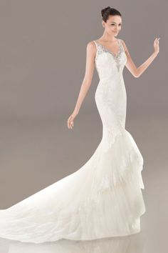 Wedding Dress Mermaid/Trumpet Chapel Train Tulle V-neck with Beaded Straps and Tiered Ruffles