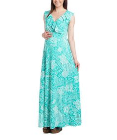 Loving this Mint Abstract Ruffle Surplice Maternity Maxi Dress on #zulily! #zulilyfinds