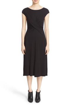 Lafayette 148 New York Cap Sleeve Twist Front Midi Dress available at #Nordstrom
