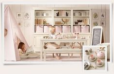 Love this for little girls play room!  Pink tent and tea party, perfection.