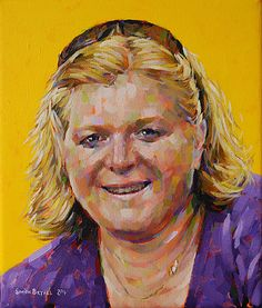 Portrait on Yellow. Painting in acrylics on canvas by Simon Birtall.