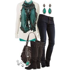 """Cozy Chocolate and Teal"" by celticmorningstar on Polyvore"