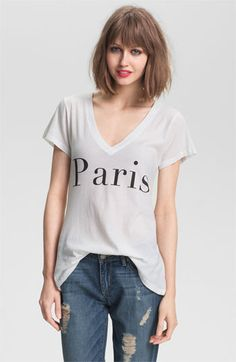 Wildfox 'Paris' Graphic Deep V-Neck Tee (Nordstrom Exclusive) available at #Nordstrom