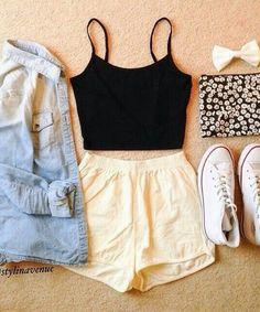 denim shirt+black top+converse