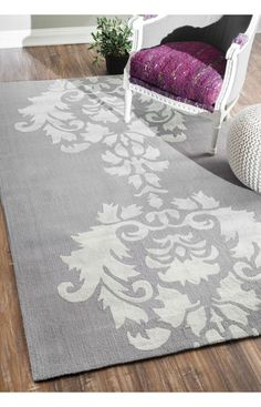 Rugs USA Elegance Cotton and Wool Damask VST25 Lt Grey Rug. Rugs USA pre Black Friday Sale up to 75% Off! Area rug, rug, carpet, design, style, home decor, interior design, pattern, home interior,  trends, home, statement, fall,design, autumn, cozy, sale, discount, interiors, house, free shipping, fall decorations, fall crafts, fall décor, great winter, winter, warm, furniture, chair, art.