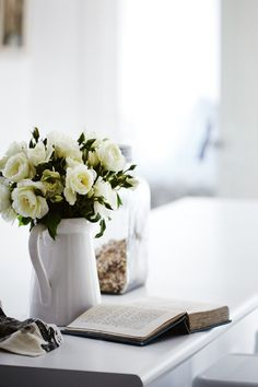 a book and flowers