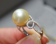11mm South Sea Pearl Engagement Ring, Diamonds, 14K White Gold. $895.00, via Etsy.