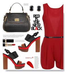 """""""Sammydress.com: Red is the new black."""" by hamaly ❤ liked on Polyvore featuring Michael Kors, Anja, Lipstick Queen, Dolce&Gabbana, shoes, ootd, bags, sammydress and romper"""