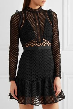 Black guipure lace and organza Concealed hook and zip fastening at back  100% polyester; lining: 85% polyester, 15% spandex  Hand wash