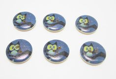 6 Owl Wood Buttons Navy Blue Button Large by OverstockBeadSupply