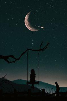 Einsam am Nachthimmel Lonely in the night sky - art - Bilder Night Sky Wallpaper, Dark Wallpaper, Cute Wallpaper Backgrounds, Pretty Wallpapers, Tumblr Wallpaper, Galaxy Wallpaper, Wallpaper Samsung, Drawing Wallpaper, Funny Wallpapers