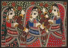 Indian Paintings, Art Paintings, Madhubani Art, Indian Folk Art, Madhubani Painting, Tribal Art, Doodle Art, Traditional Art, Black History