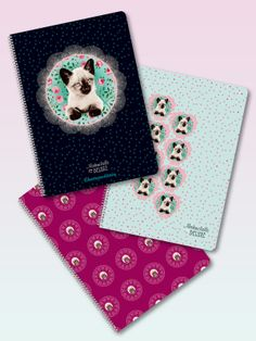 Pussy Deluxe Notebook spiral binding set 3 pcs. DIN A5 lined black/deep red/turquoise - NAPO Shop - der offizielle Nastrovje Potsdam Shop