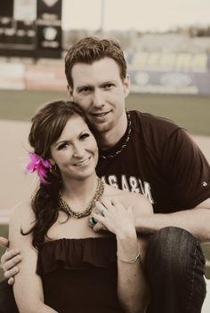 Casual wedding at a baseball stadium