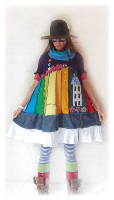 Rainbow Dress Upcycled Smock Scandinavian Cute Denim Cashmere Folk House Hippie Festival Quirky Sundress Recycle Eco Friendly Clothes Medium