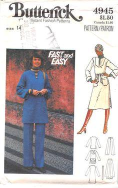 BUTTERICK 4945 - FROM 70S - UNCUT - MISSES DRESS, TUNIC, PANTS & BELT
