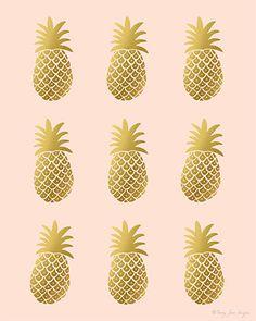 Pineapple Art Print Digital Gold By PennyJaneDesign