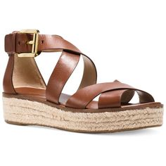 Michael Michael Kors Darby Flatform Sandals ($135) ❤ liked on Polyvore featuring shoes, sandals, luggage, michael kors, criss-cross sandals, leather strap sandals, flatform sandals and flatform shoes