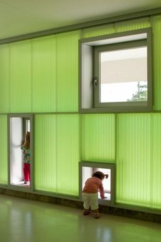 This is creative. The kids seem to enjoy their time exploring the windows. The opaque wall allows light to permeate the room and gives an enchanting, luminous feel to the room