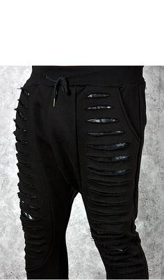 Multiple laser cutting accent black sweatpants - 221 - NSIE NewStylish