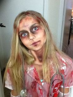 Moms special fx makeup and handmade costume dead nurse - Halloween 2018 - Kids Zombie Makeup, Halloween Zombie Makeup, Zombie Kid, Zombie Halloween Costumes, Mom Costumes, Zombie Prom, Zombie Walk, Zombie Make Up, Zombie Bride Makeup
