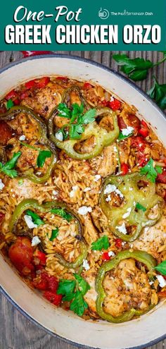 Amazing chicken orzo recipe, prepared Greek-style! Boldly seasoned chicken, orzo pasta, vegetables and aromatics, baked to creamy perfection! Orzo Recipes, Greek Chicken Recipes, Spinach Recipes, Entree Recipes, Greek Recipes, Side Dish Recipes, Dinner Recipes, Cooking Recipes, Healthy Recipes