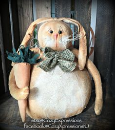 Primitive Bunny by CozyExpressions on Etsy