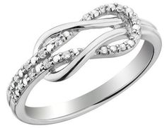 This dazzling diamond promise ring features a romantic and beautiful love knot design. carats (ctw) of round brilliant diamonds adorn the polished sterling silver band, creating a sparkling and elegant look. Cute Promise Rings, Infinity Knot Ring, Infinity Symbol, Wedding Jewelry, Wedding Rings, Love Knot Ring, Do It Yourself Fashion, Black Gold Jewelry, Gold Jewellery