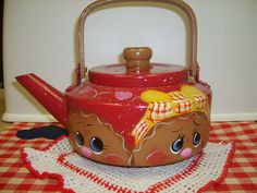 Red Tin Gingerbread Tea Kettle by VickiesCrafts on Etsy