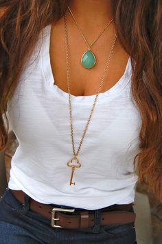 Love the turquoise necklace with a white tee for summer. Minus the white bra showing... Smh