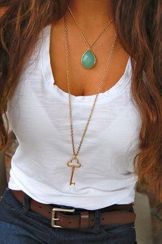 #white #tee #shirt #gold #necklace #dark #jean