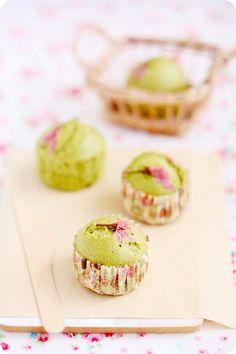 matcha sakura mushipan (japanese green tea and cherry blossom steamed cup bread)