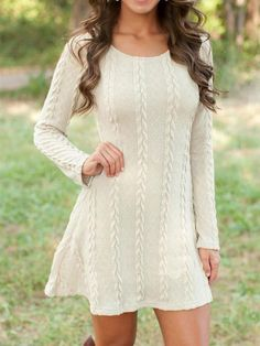 186ca5b5d1e Solid Color Causal Long Sleeve Twist Knitted Sweaters Dress