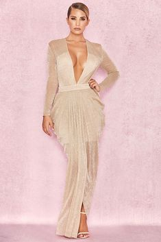 97cfecd4be45 HOUSE OF CB 'Blanca' Nude Shimmer Sheer Chiffon Maxi Dress L 12 / 14 ·  Dresses For LessMax ...