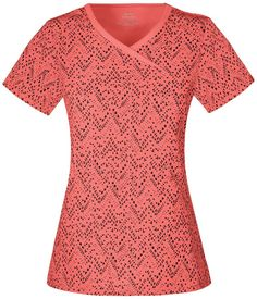 "Infinity by Cherokee Mock Wrap Scrub Top in ""Textured Chevron"" from Cherokee Scrubs at Cherokee 4 Less"