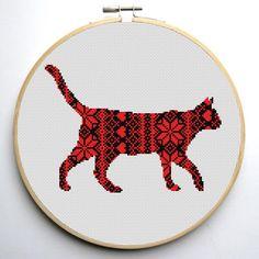 Nordic Ornament Christmas Cat Cross Stitch Pattern | Craftsy