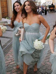 f9102d5a857 A-Line Princess Sweetheart Sleeveless Floor-Length Beading Tulle Bridesmaid  Dresses