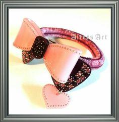 Rena Chris Paris purple bow dangle heart hair ponytail holder with Swarovski crystals.