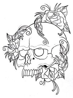 skull coloring pages with rose - Enjoy Coloring