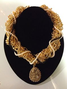 Gold Goddess  Chains Pearls Druzy and Black by BlackPearlCouture